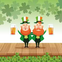 Saint patricks elves cartoons vector