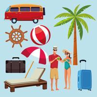 Insieme del fumetto delle icone di estate e spiaggia