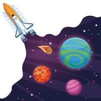 Nave spaziale nella galassia della Via Lattea