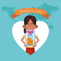Kid donation and charity vector