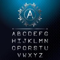 Alfabeto de letras de fonte prata