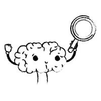 figure kawaii happy brain with magnifying glass