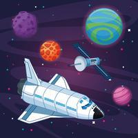 Nave espacial en la galaxia milkyway
