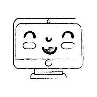 figure kawaii mignon moniteur d'écran heureux
