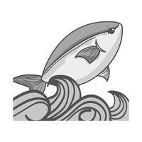 Graustufen Fisch Tier im Meer mit Wellen Design