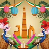 Carte de tourisme monument national de l'Inde