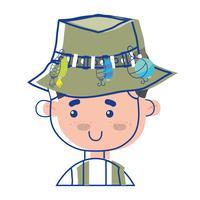 pescatore con cappello design e sport divertente