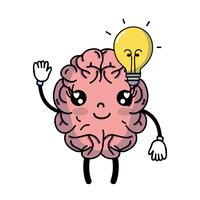 kawaii happy brain with bulb idea