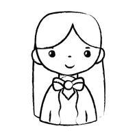 figuur casual vrouw met kapsel en blouseontwerp