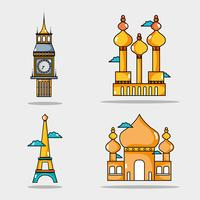 set travel vacation countries to visity vector