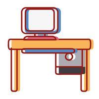 Oficina con tecnología informática y escritorio de madera.
