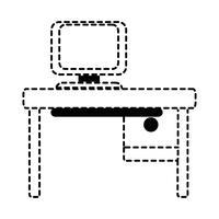Oficina de formas punteadas con informática y escritorio de madera.