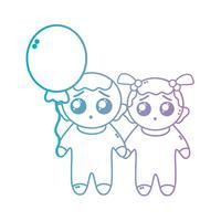 Línea de lindos bebés junto a peinado y globo.