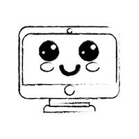 figura kawaii carino monitor schermo felice