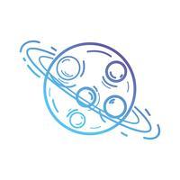 Línea planeta Urano con sus anillos en el espacio de la galaxia.