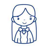 silhouet casual vrouw met kapsel en blouseontwerp