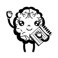 contour kawaii happy brain with notebook tool