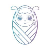 linea bambina carina con coperta e acconciatura