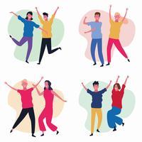 conjunto de avatar de pessoas a dançar