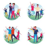 set of dancing people avatar vector
