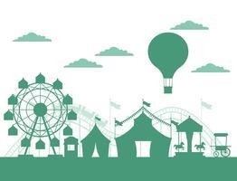 Cirkusfestival mässa silhuettlandskap