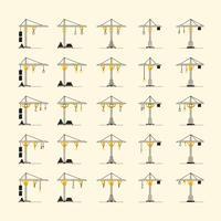 Coleção de vários estilos de guindaste. EPS10, vetor, ilustração