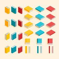 Collection de livres de design plat et isométrique. EPS10, vecteur, illustration