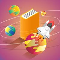 Isometric book planet and spaceship