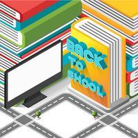 Sinal de volta à escola isométrica no livro com árvore de computador e estrada