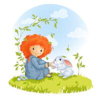 Curly red-haired girl and hare sitting on a meadow, best friends.