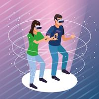 Couple playing with virtual reality