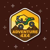 Bannière insigne aventure route 3x3. Illustration vectorielle