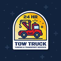 Tow truck badge banner. Towing and transport service sticker design