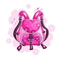 Beautiful pink sports backpack with a floral pattern. Spring design bags and accessories. Vector illustration.