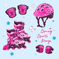 A set of sports items for rollerblading in a spring design with a floral pattern. Roller skates, helmet, knee pads and elbow pads. Vector cartoon accessories set.