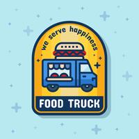 Food truck service badge banner. Vector illustration