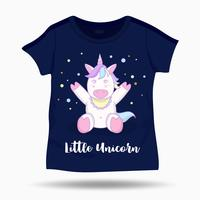 Little funny unicorn illustration on T Shirt kids template. Vector illustration