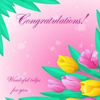 Tarjeta de felicitación con los tulipanes en un fondo rosado.