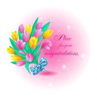 Tarjeta de felicitación redonda con un hermoso ramo de tulipanes de primavera, lazo y lugar para el texto. Ilustración de vector de saludo para las vacaciones.
