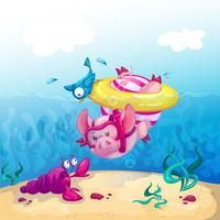 Ein lustiges Schwein in einem gestreiften Badeanzug und auf einem gelben Gummiring taucht ins Meer und betrachtet den Meereskrebs. Sommerspaß-Karikaturillustration.