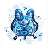 Stylish sporty blue backpack with a geometric pattern. Spring design bags and accessories. Vector illustration.