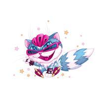 Lustige blaue Katze im Sturzhelm und in den Rollschuhen. Sport scherzt Zeichentrickfilm-Figur. Steiler Skater. Vektor-illustration