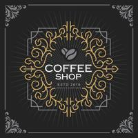 Coffee shop logo. Vintage Luxury Banner Template Design for Label, Frame, Product Tags. Retro Emblem Design. Vector illustration
