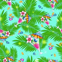 Seamless summer beach pattern with palm leaves and cocktails on blue sea background.