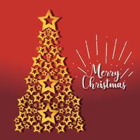 merry christmas pine stars decoration design