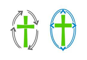 Crosses and arrows logos vector