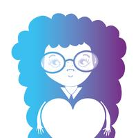 line avatar girl with hairstyle and heart design