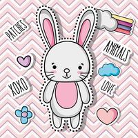 diseño de etiqueta de parche de conejo animal