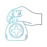 linea mano con borsa dotazione con cuore e croce simbolo
