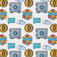 bitcoin digital money with strongbox and cloud data background
